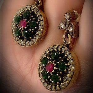 RUBY EMERALD ART EARRINGS Solid 925 Silver/Gold
